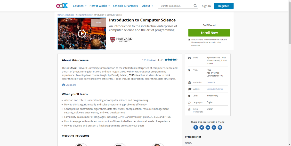 A screenshot of the CS50 course on edX.