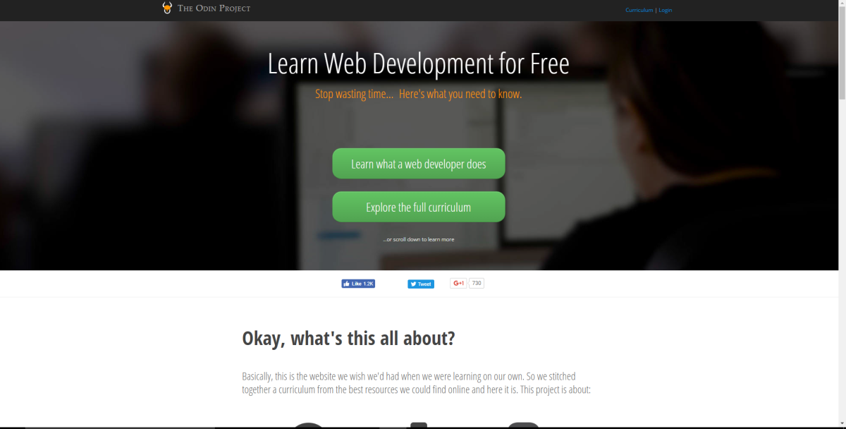 Screenshot of The Odin Project's homepage.