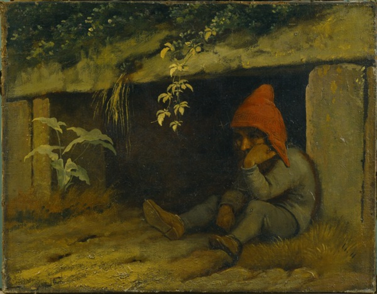 The Troll Sindre outside his Cave by Johan Thomas Lundby. Note the runes across his cap. From the Hirchsprung Collection in Copenhagen.