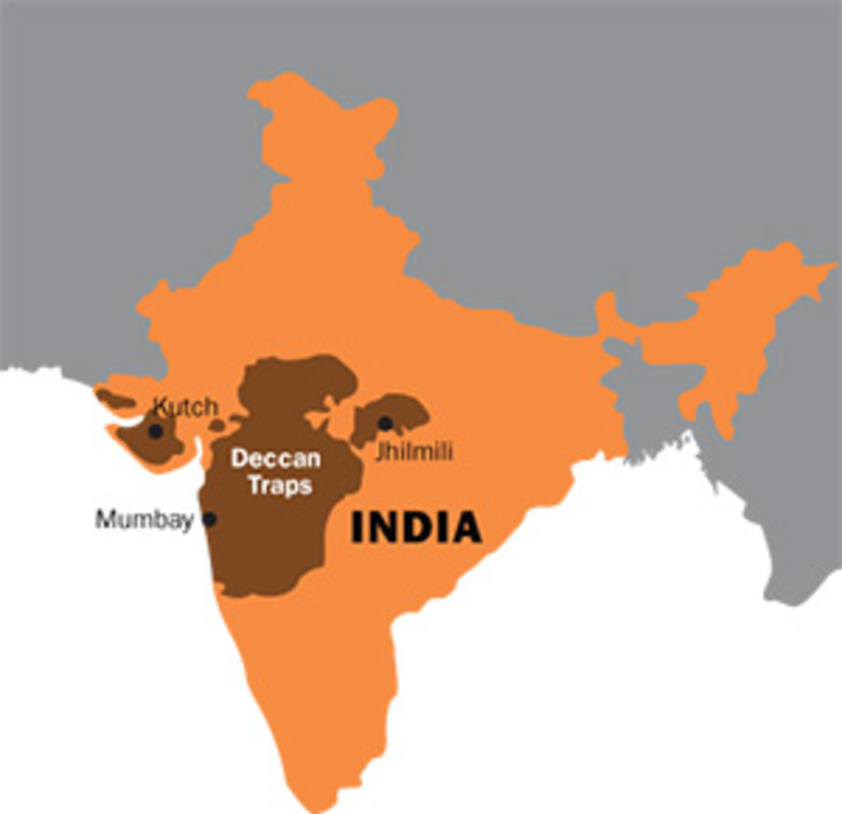 Map of India showing the Deccan Traps (brown).