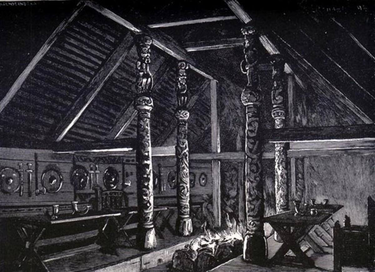 Interior of Anglo-Saxon mead hall.