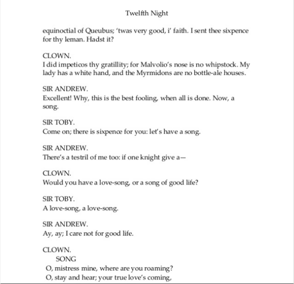Twelth Night ACT II Scene iii