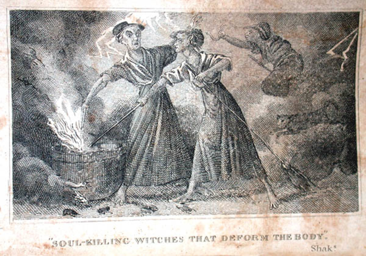 The image shows two witches stirring a steaming cauldron. Frontispiece, The Wonders of the Invisible World Displayed, by Robert Calef. New Edition. Boston: T. Bedlington, 1828.