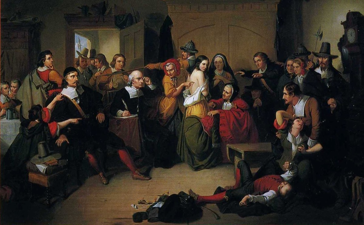 """Examination of a Witch"" by Thompkins H. Matteson, 1853.  This features how suspected witches were searched for 'witches marks' e.g. bruises, blemishes, moles, etc."