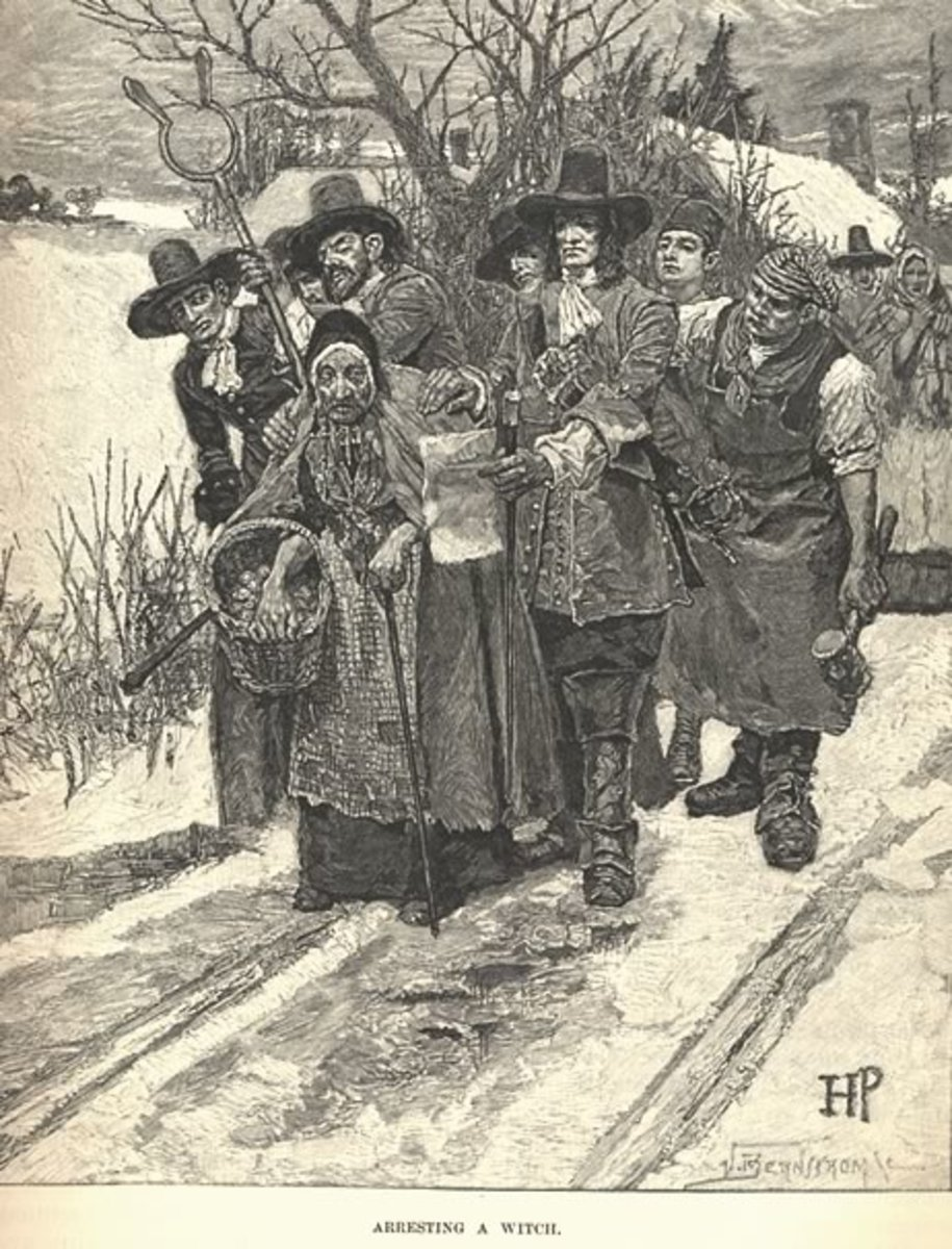 A generic scene that shows a woman being arrested for witchcraft, depicted conventionally as an old hag by the famous illustrator Howard Pyle. Harpers New Monthly Magazine, Vol. 67, (June - November), 1883: 221.