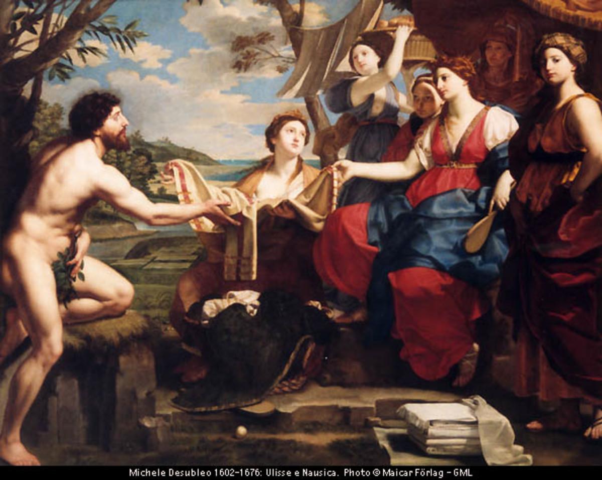 Odysseus meets Nausicaa. 7426: Michele Desubleo 1602-1676: Ulisse e Nausica. Capodimonte Palace and National Gallery, Naples.