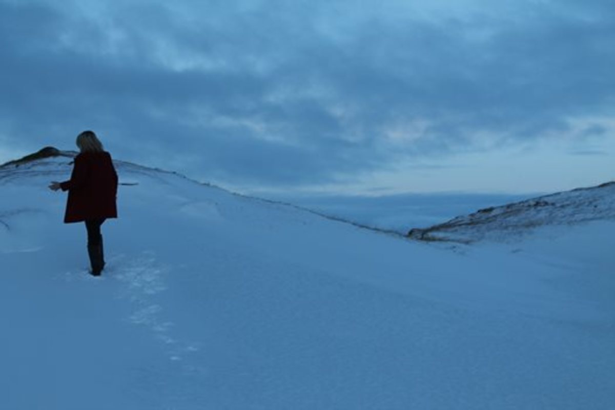 Climbing the slope of Þrístapar, the site of execution, a few days before the 183rd anniversary of Agnes's death.