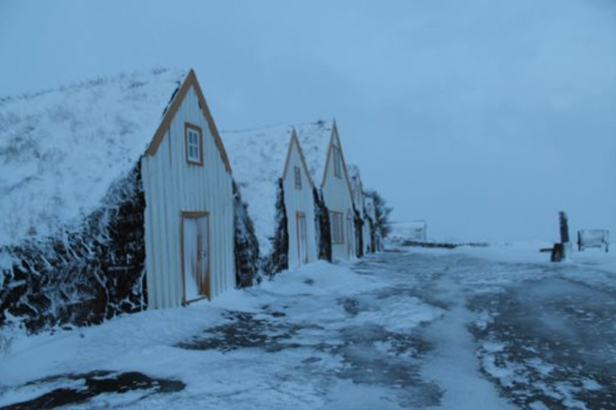 The museum Glumbær, in a cold January. Glumbær was once a wealthy farm in the Skagafjörður area. The original turf buildings have been preserved, and offer visitors a wonderful insight into the old Icelandic way of life.