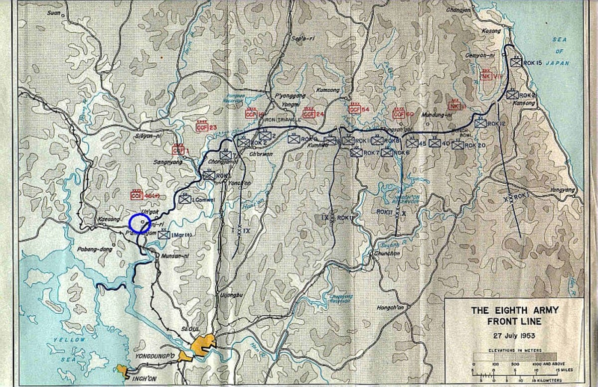 Map of the front line in Korea as of July 1953. Blue circle is the approximate site of the Battle of Vegas Hill (which was part of the Battle of the Nevada Cities) in March 1953.
