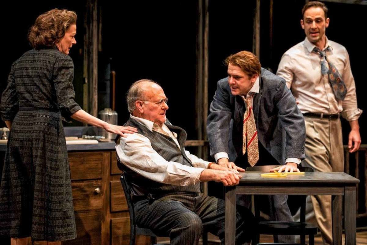 A photograph from the play The Death of a Salesman illustrating the dysfunctional Loman family and the tension within the main characters. The inability to reconcile the corrupt relationship catalyses the fatal and tragic ending of the play.