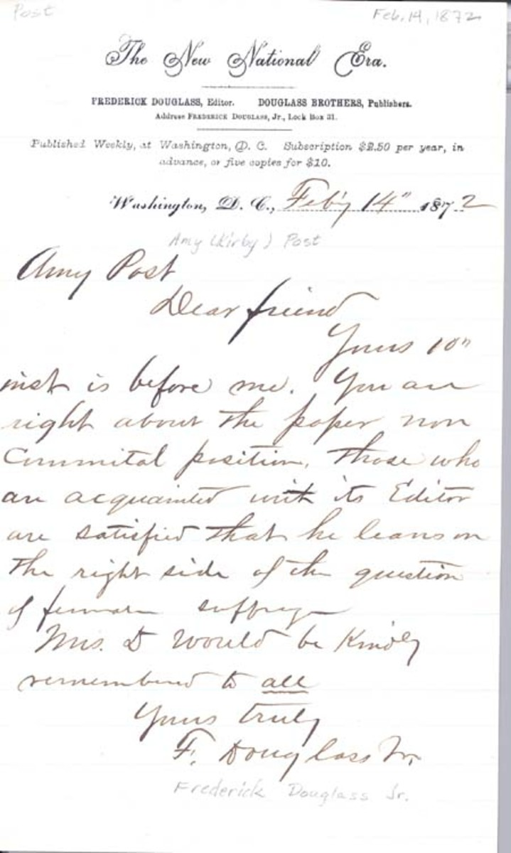 Letter from Frederick Douglass to Amy Post, dated February 14, 1872.
