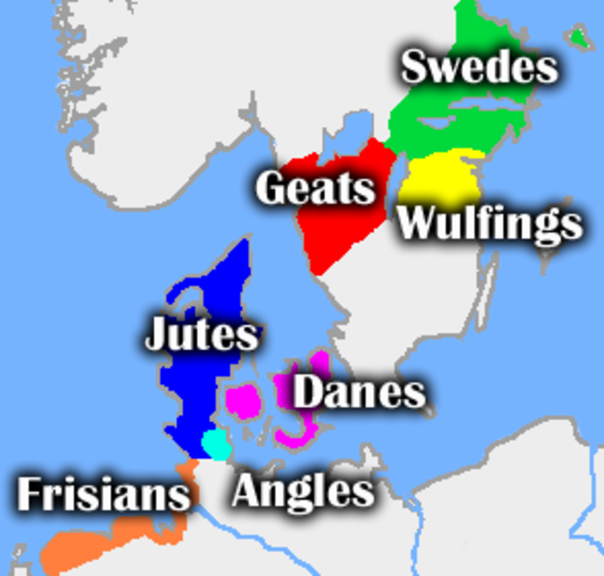 This map illustrates where each of the tribes mentioned in Beowulf resides.