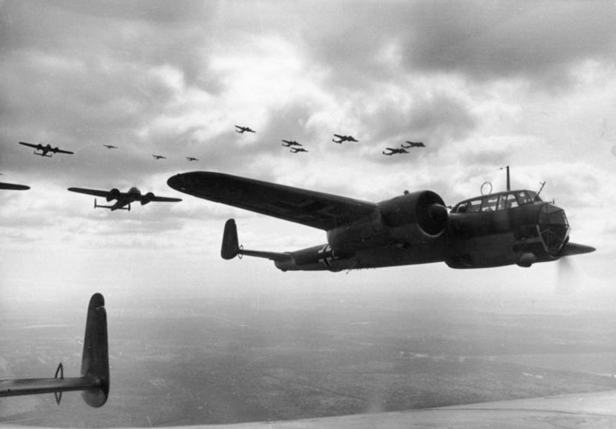 Do 17 Z-2s over France, summer 1940 bombing French and British strong points to support German spearheads.