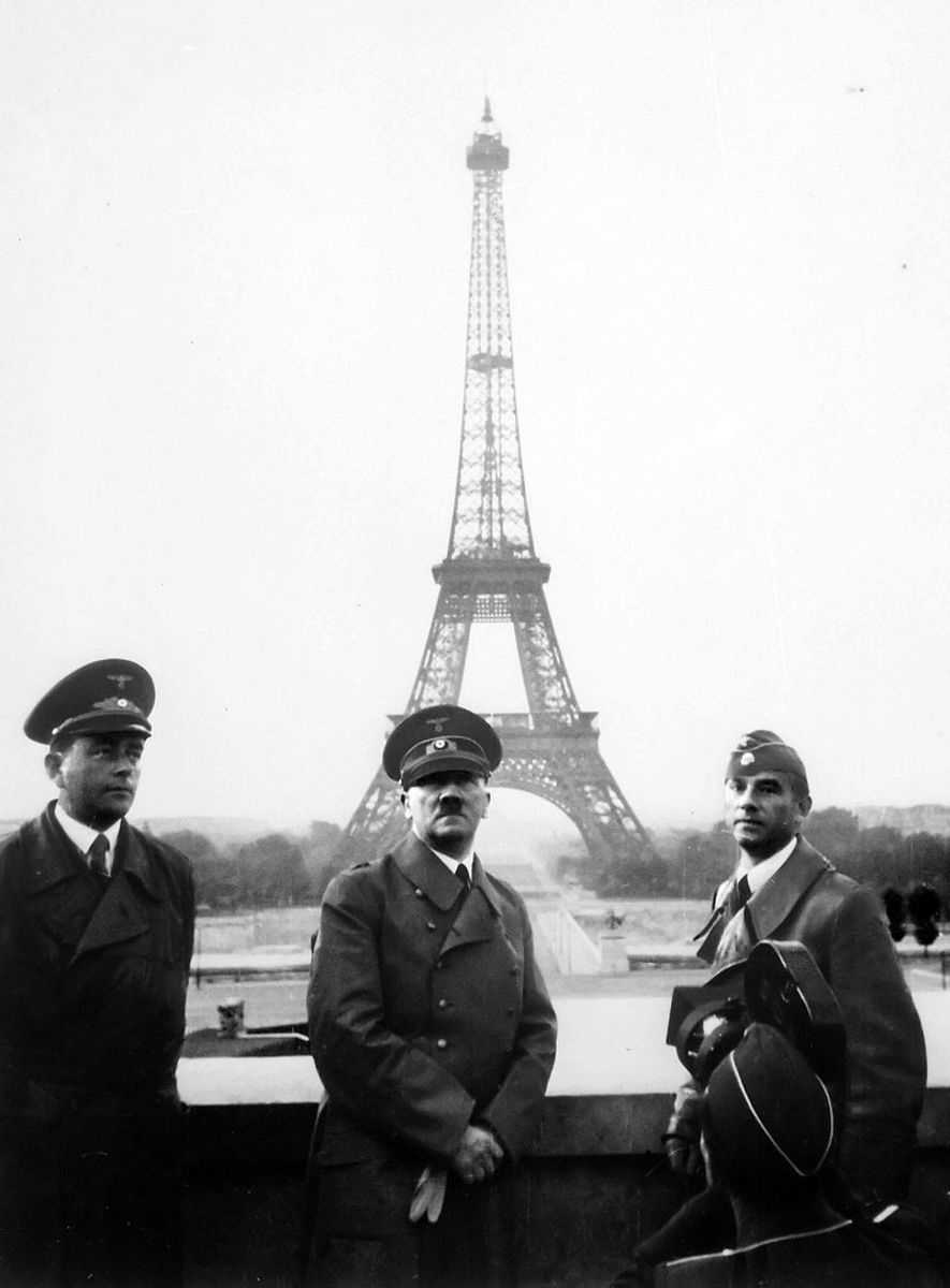 Hitler visits the Eifel Tower after the Fall of France 1940, it would be his first and last trip to Paris.