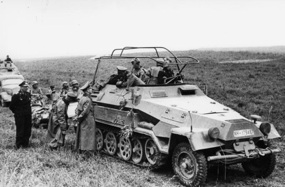 Heinz Guderian in his command car during the Battle of France.