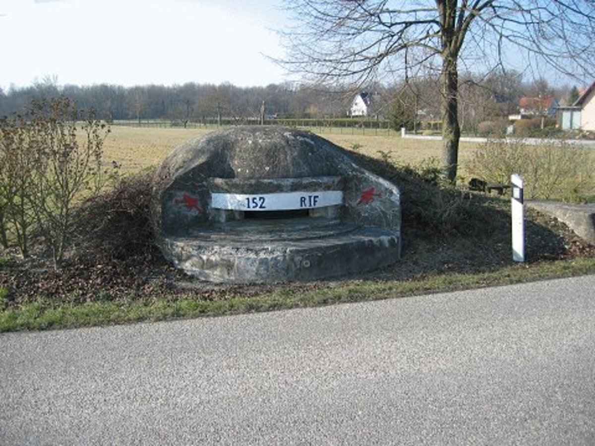 Gun turret part of the Maginot Line today near the roadside.