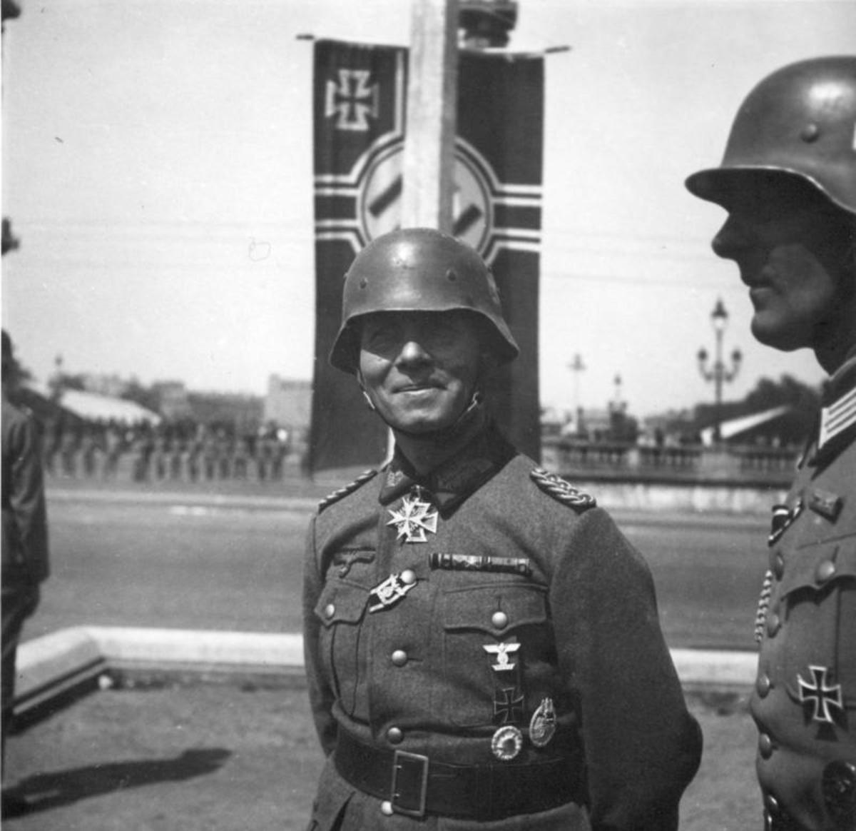 Rommel at the victory parade in Paris after the Fall of France June 1940.
