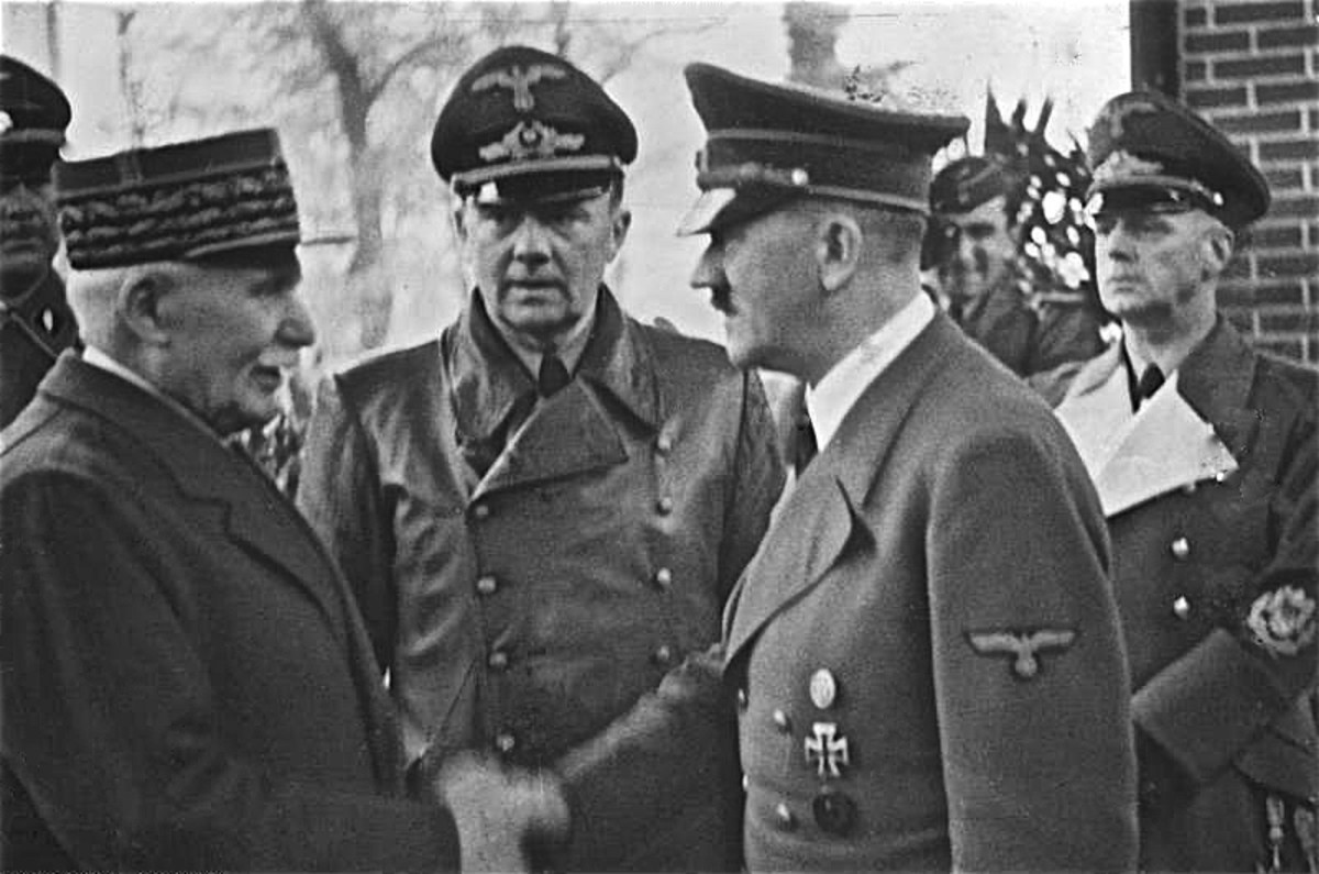 Marshal Petain shaking hands with Hitler after the surrender to Germany June 1940.