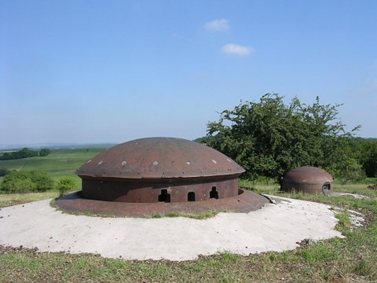 A mixed weapons turret today part of the Maginot Line near the German border with France.