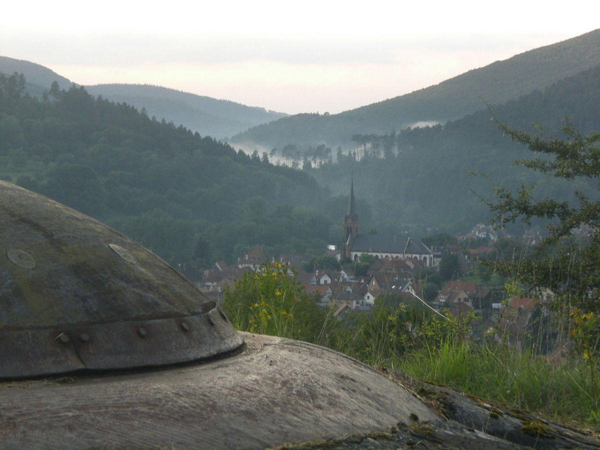 View form Gun turret over looking a mountain valley in France today.