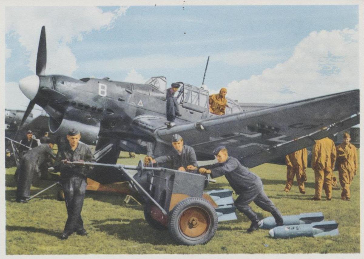 The German Stuka JU-87 dive bomber.