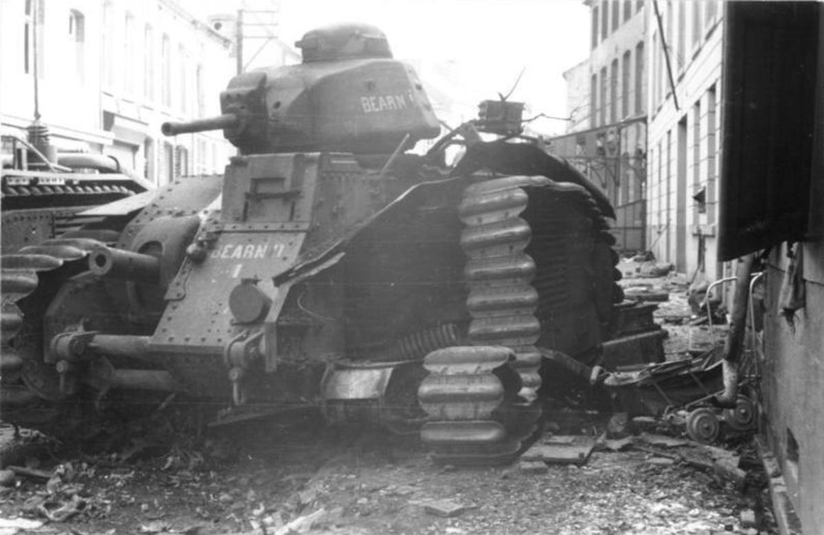 Destroyed French Char B-1 tank at Sedan it was one of the best tanks in the world at that time. If French generals would have committed them in mass the result of the battle would have been different.