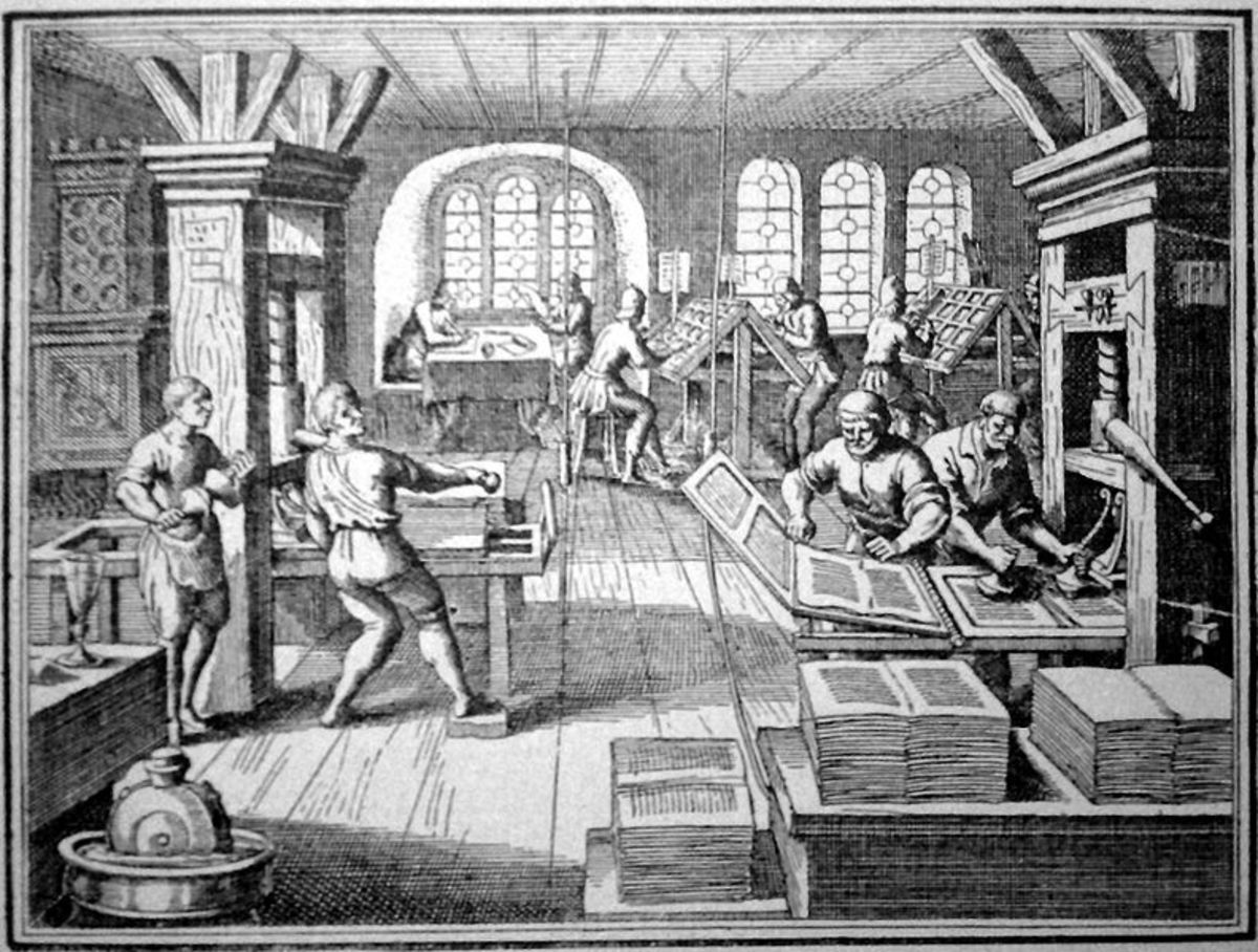 Drawing of printing style invented by Gutenberg