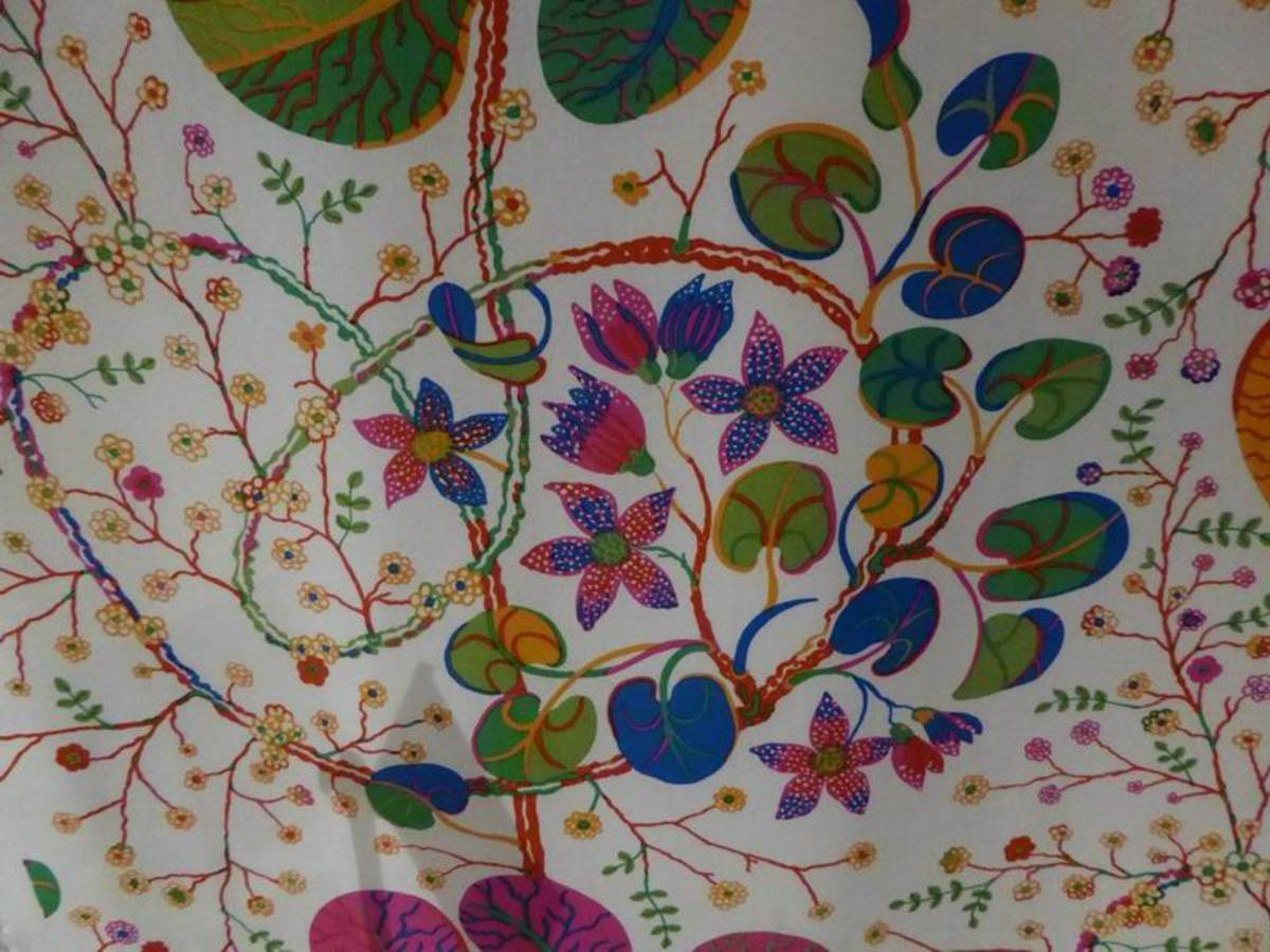 Mille Fleurs by Josef Frank - Detail - reminiscent of meadow flowers. Copyright image by Frances Spiegel with permission from Fashion and Textile Museum. All rights reserved.