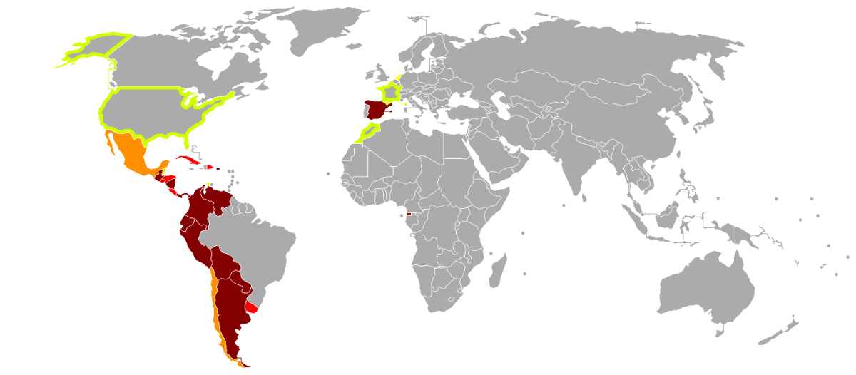 Although Spanish is primary in only a few countries, more and more countries have larger populations where there citizens speak Spanish, including the United States of America, as well as parts of Europe and Northern Africa.