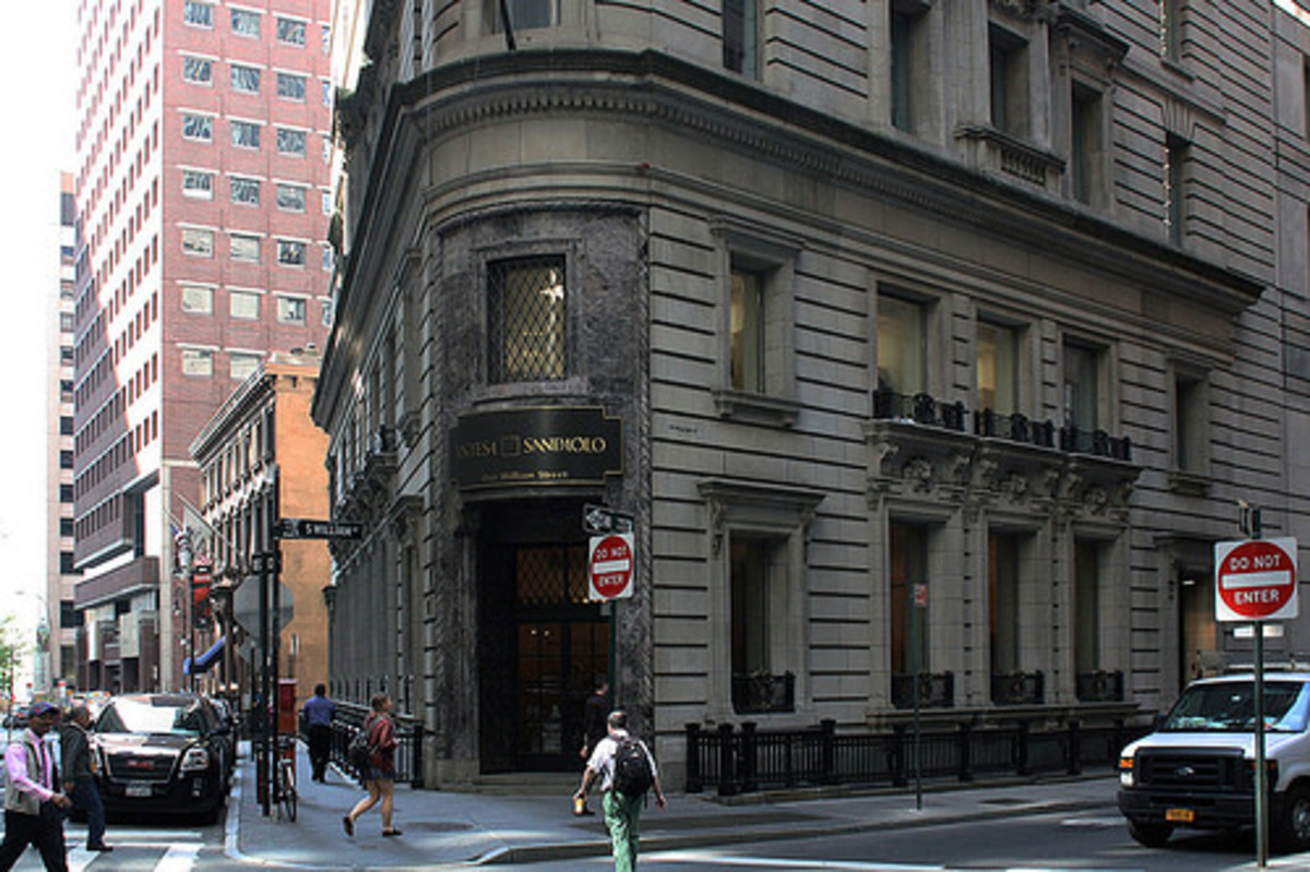 Through rescues, mergers, and acquisitions, the Banco Ambrosiano has been folded into the Italian bank Intesa Sanpaolo. This is its New York headquarters.
