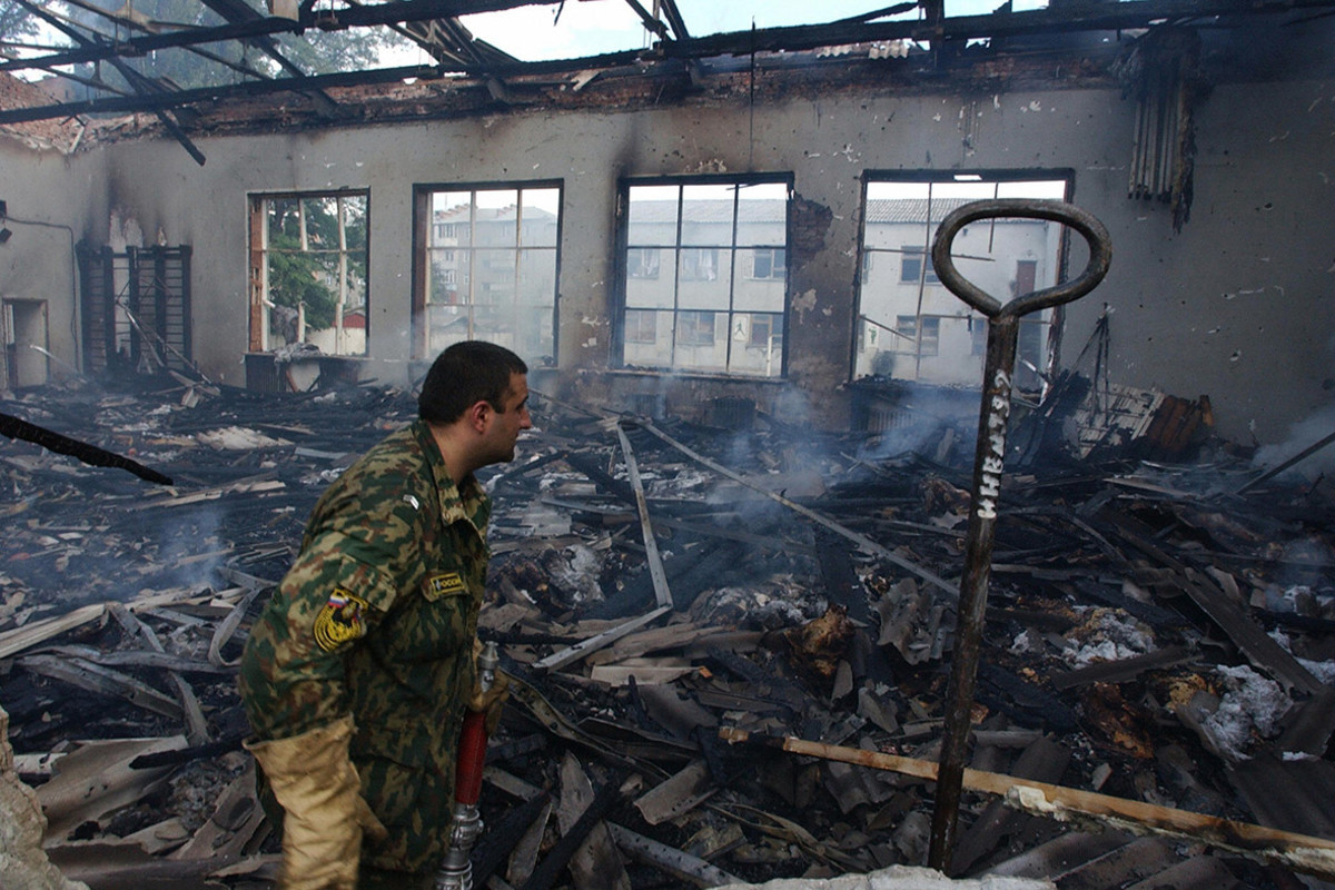 The burned and bloody aftermath of the Beslan school siege.