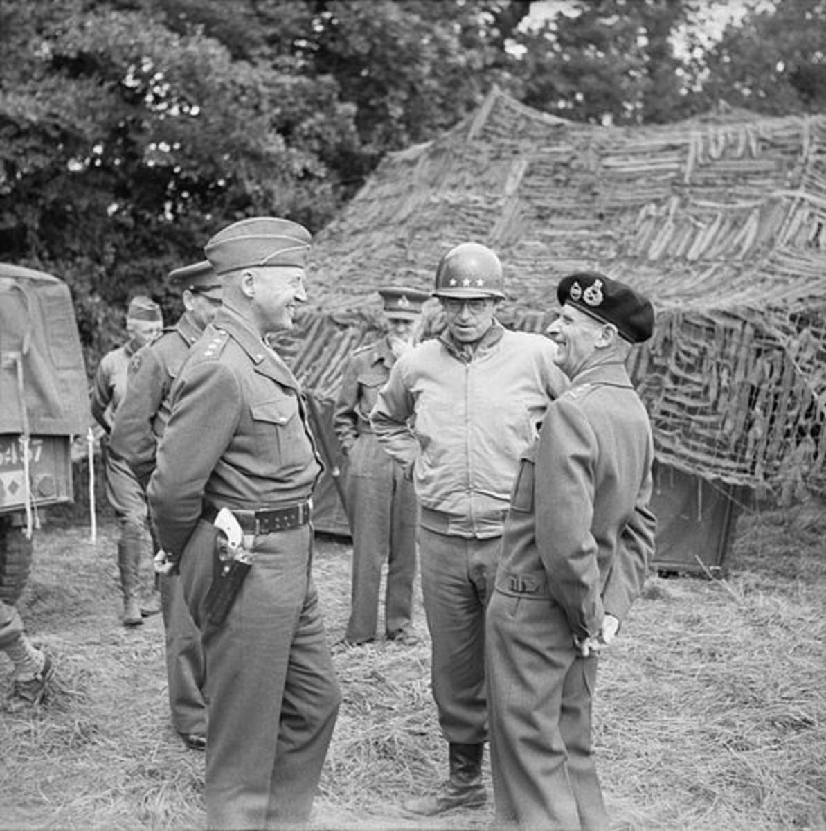 Generals Patton, Bradley and Montgomery - in a good mood in 1944