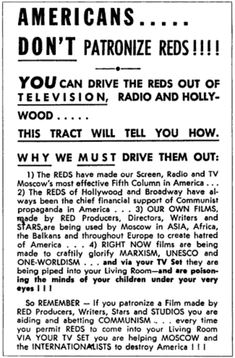 Anti-communist propaganda poster from the 1950's.  The poster is aimed at the U.S. entertainment industry.   The movie and entertainment industry were one of McCarthyism's main targets and many people would lose their jobs as a result.