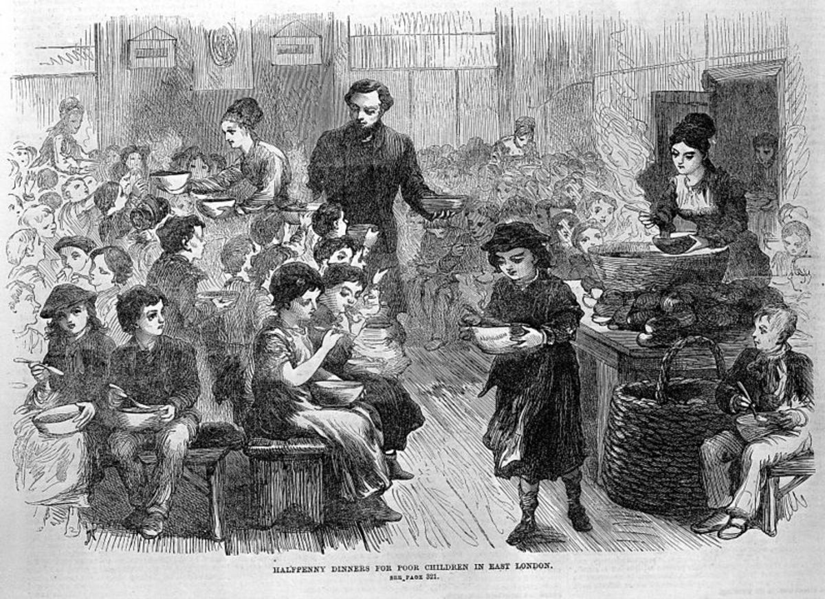 Some wealthier people tried to alleviate poverty by providing halfpenny dinners to children.