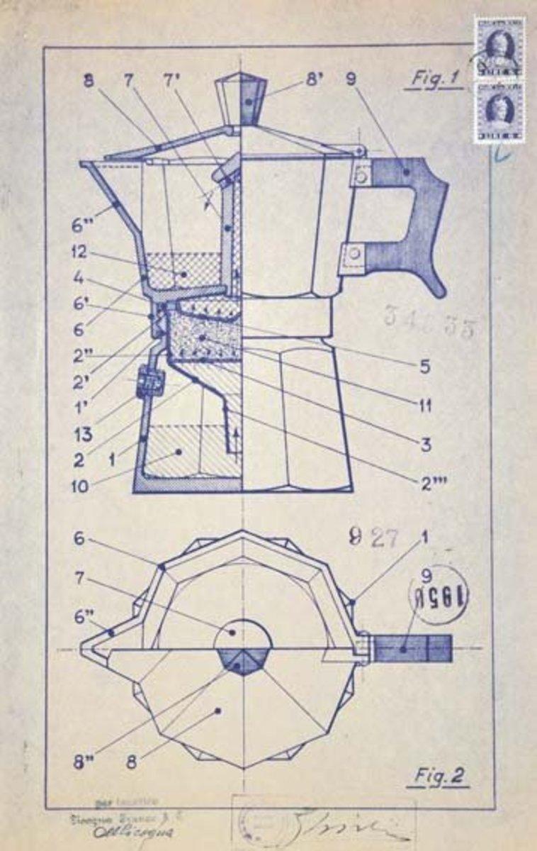 bialetti patent drawing 1951