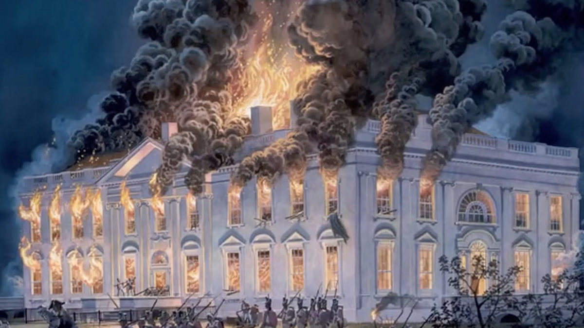 In August 1814, invading British forces set fire to the newly constructed President's residence.