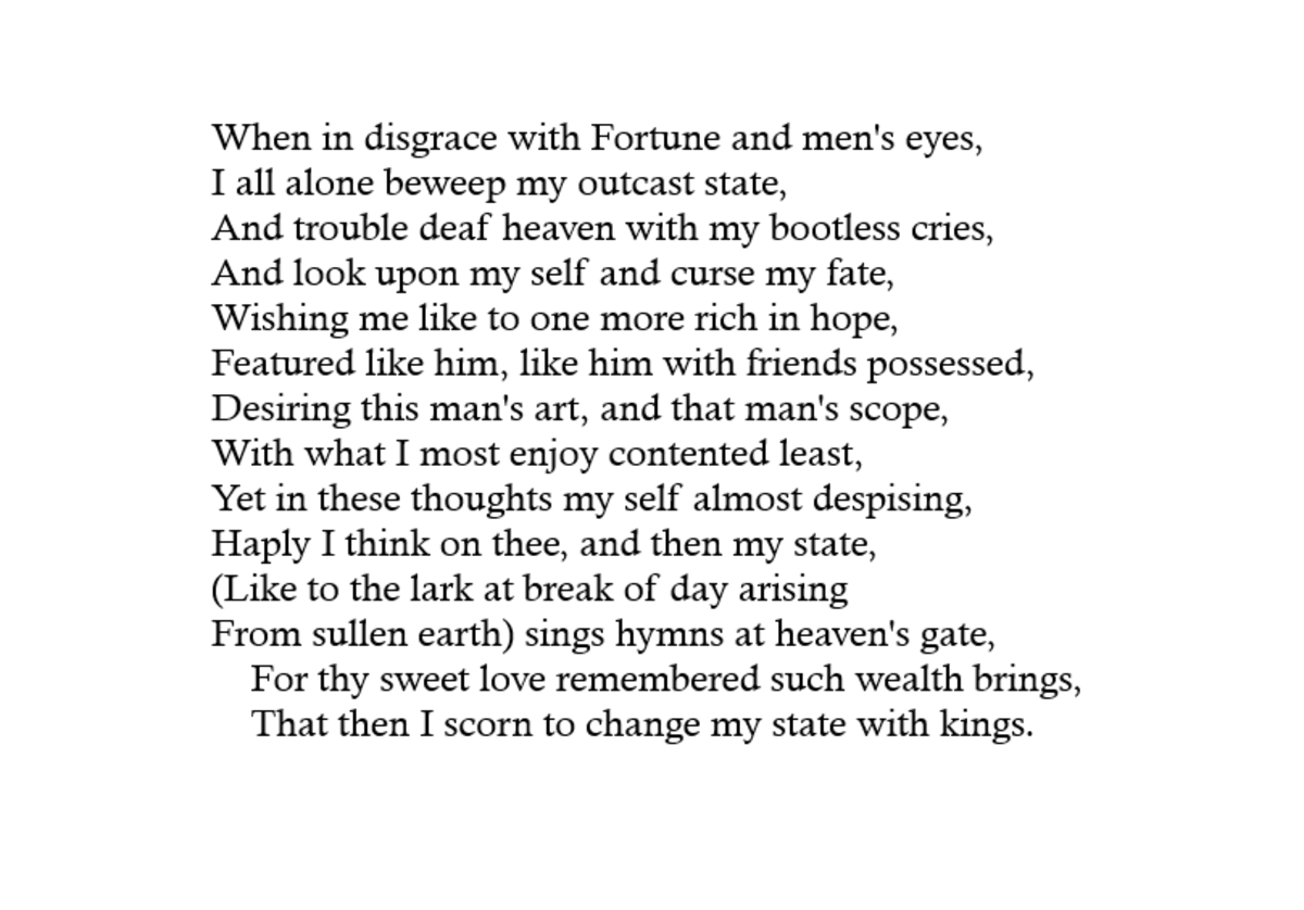 Analysis Of Sonnet  By William Shakespeare  Owlcation Sonnet