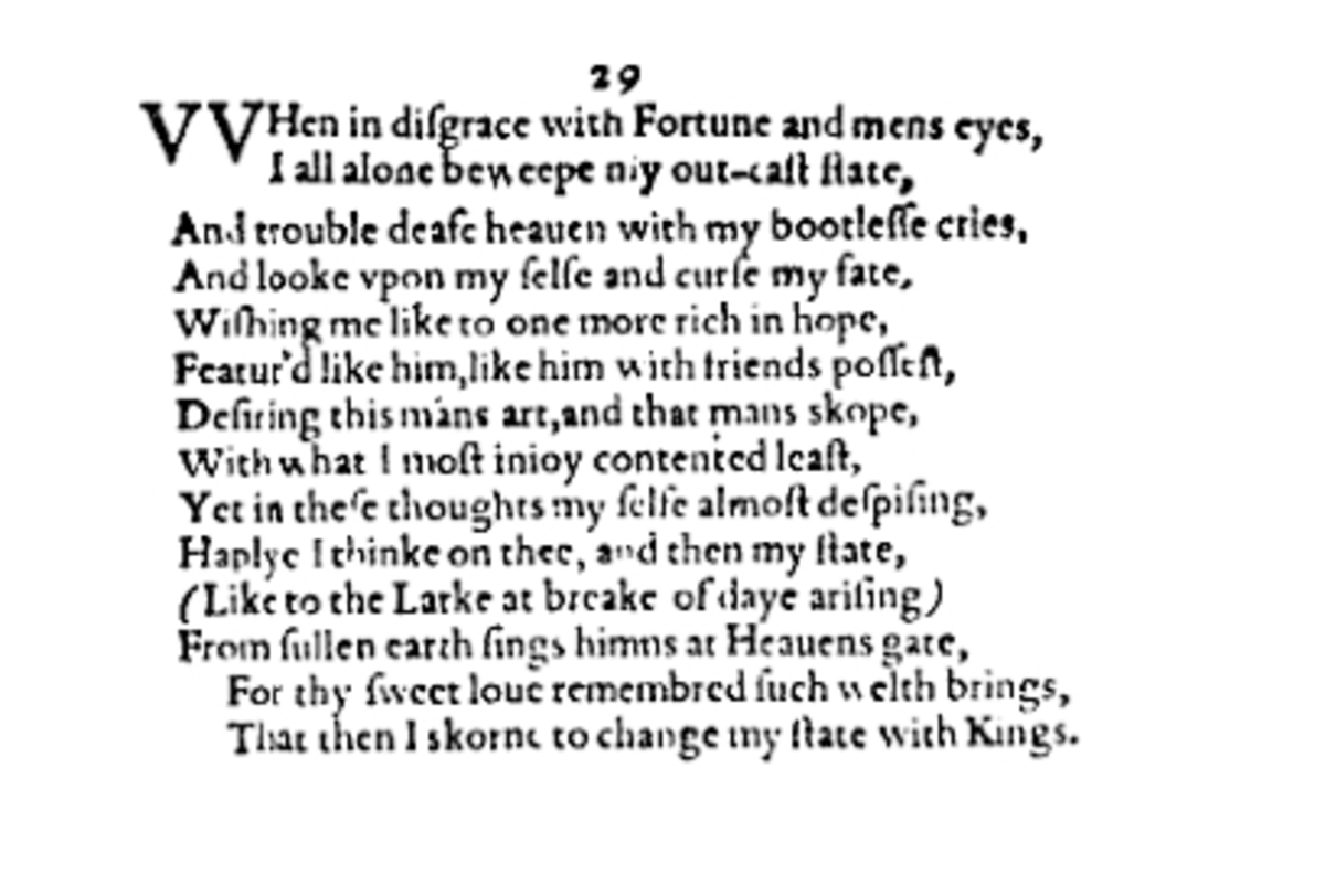 Analysis of Sonnet 29 by William Shakespeare | Owlcation