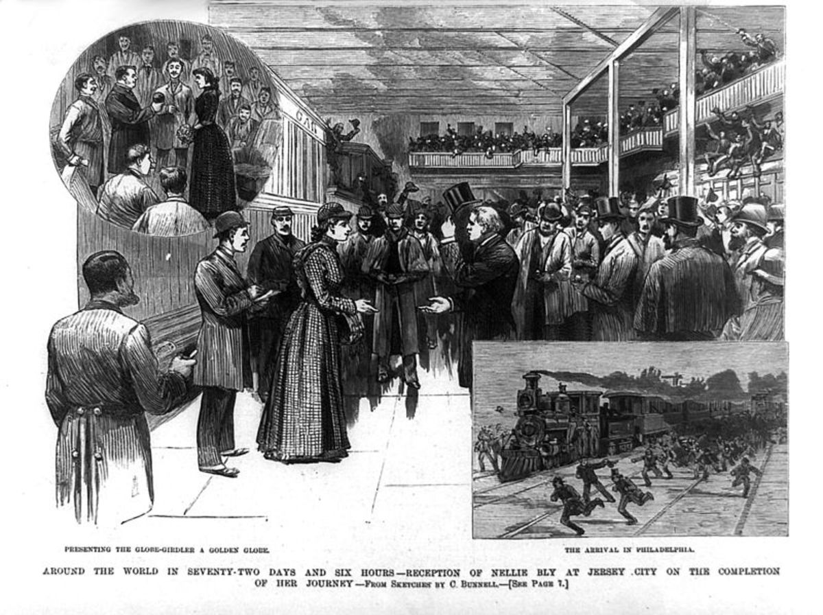 Nellie Bly is greeted on her return from the round-the-world trip.