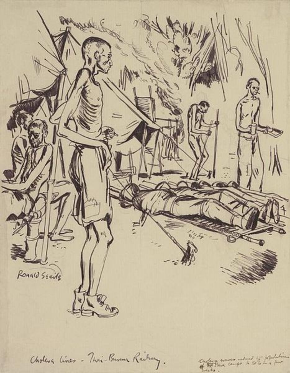 Emaciated prisoners tend the sick and dead.