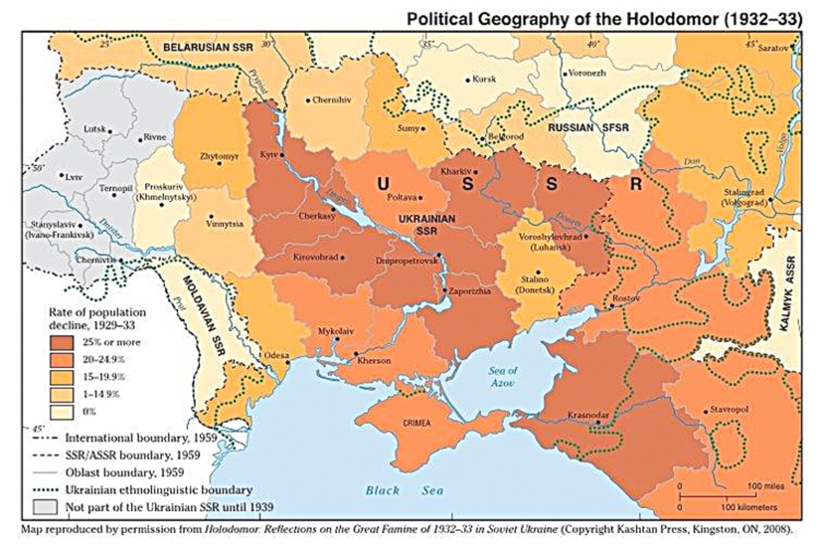 Geographical representation of areas most affected by famine. Notice the famine's severity across the Ukraine.