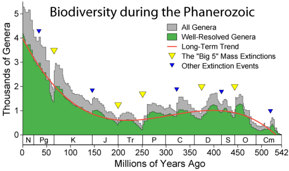 The previous five mass extinction events on earth