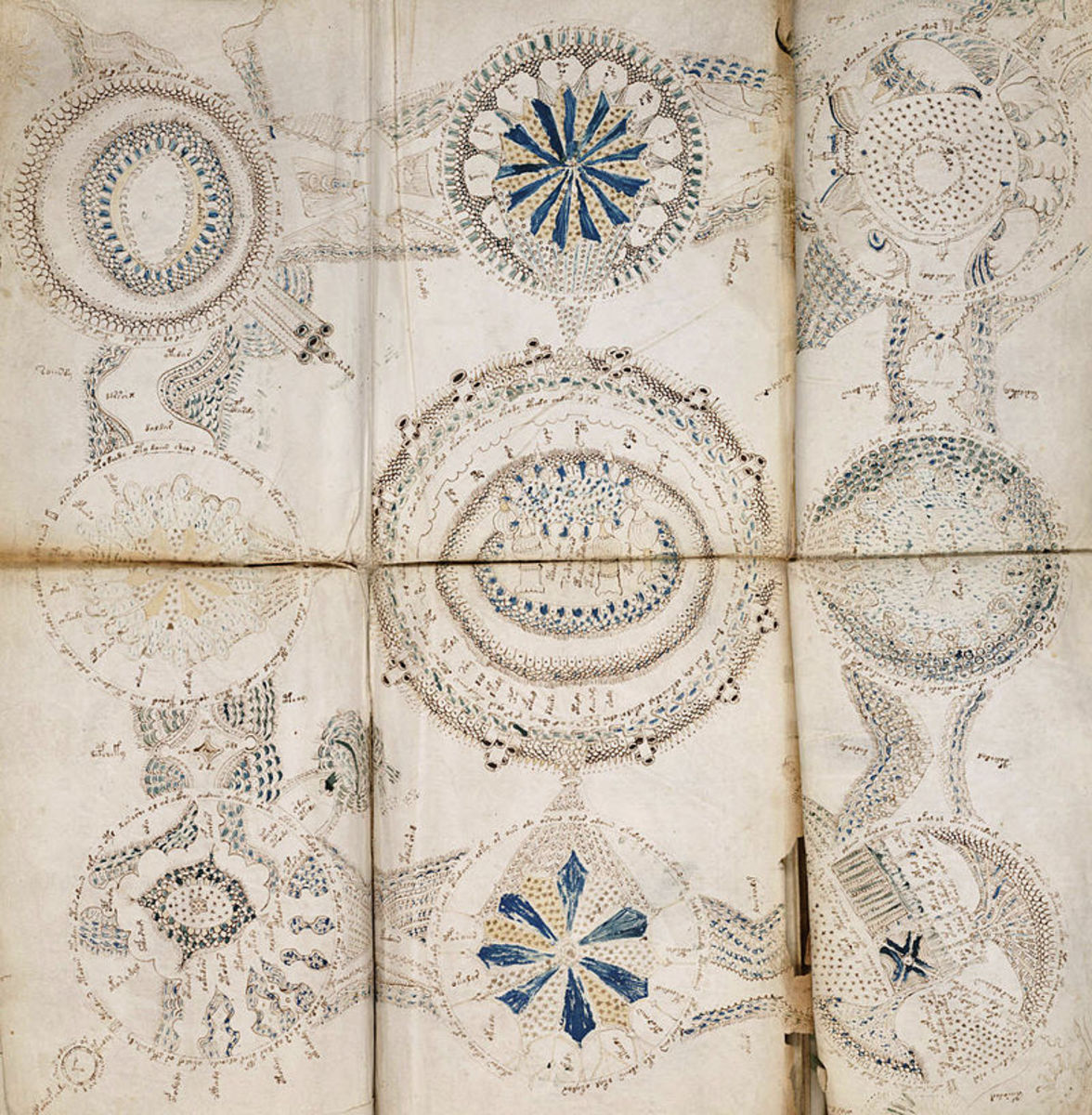 A fold out sheet of circular images. Fold out sheets were uncommon in ancient manuscripts.