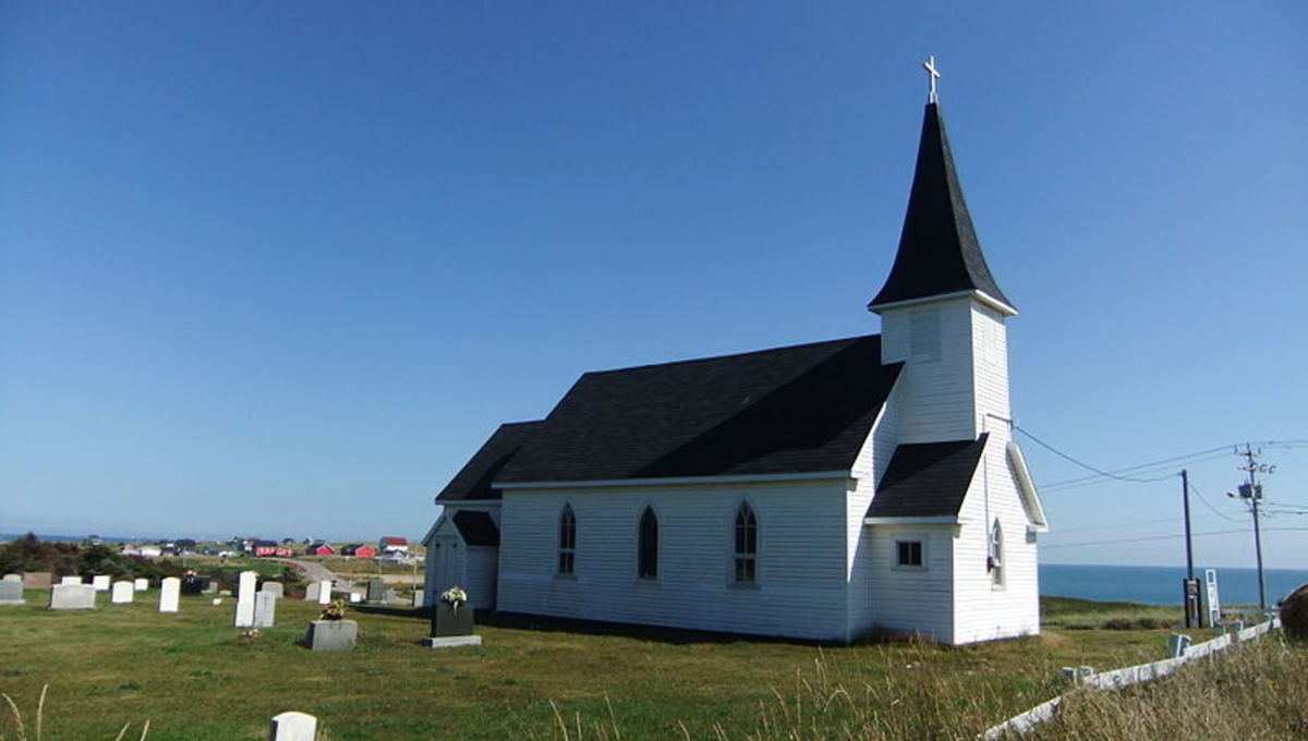 St.-Peter's-By-the-Sea is an Anglican Church built with wood salvaged from shipwrecks.