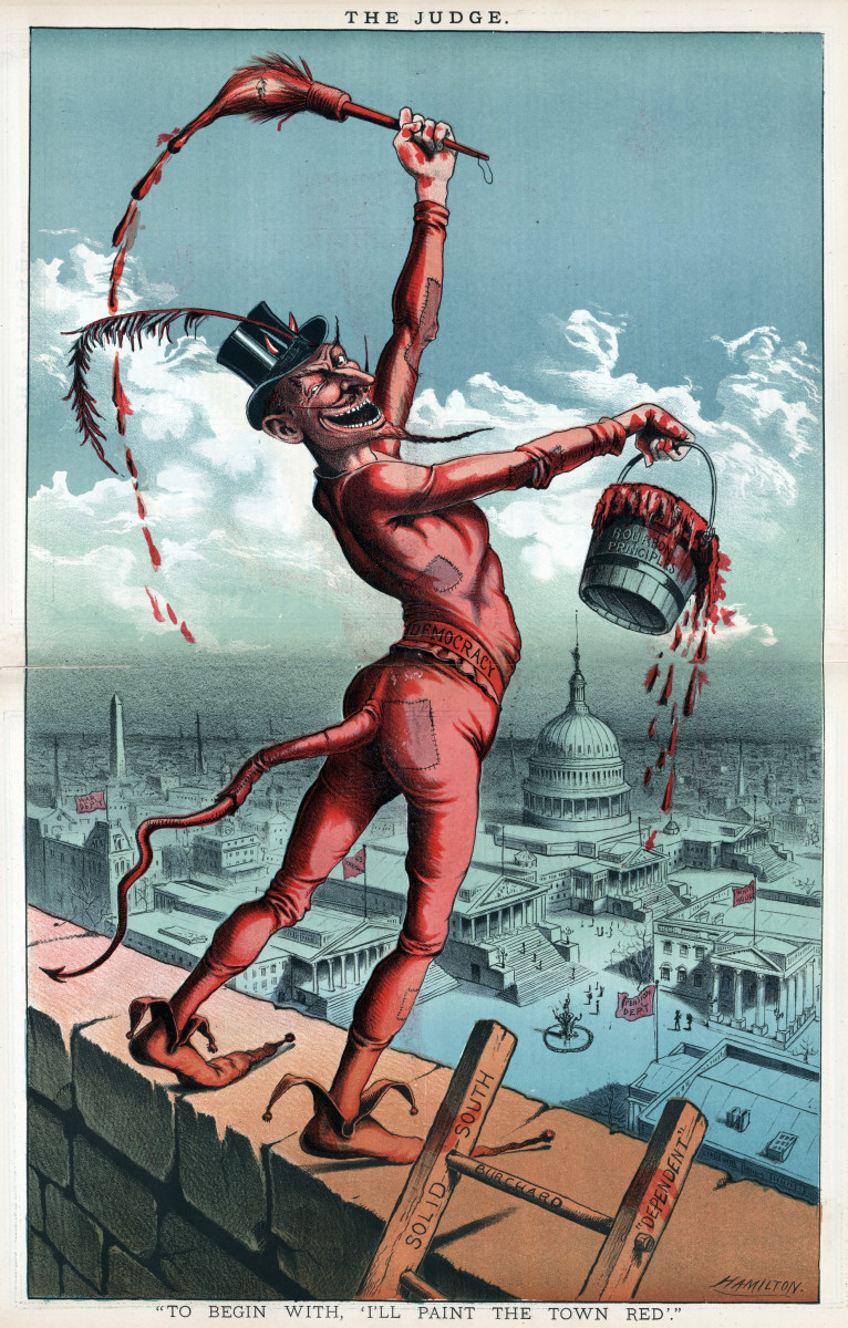 "Democracy is portrayed as the devil, holding a can of paint called, ""Bourbon Principles,"" the paintbrush is a caricature of Grover Cleveland. The devil is standing over a wall facing Washington D.C."