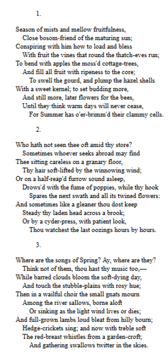 Analysis Of Poem To Autumn By John Keats Owlcation