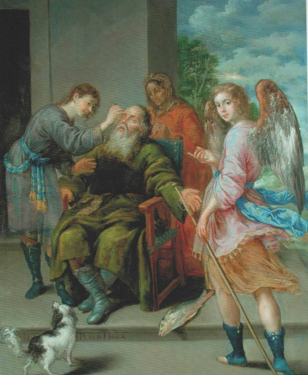 Painting tells the story of Tobias who restored his father's sight. Image by Frances Spiegel with permission from The Wallace Collection.