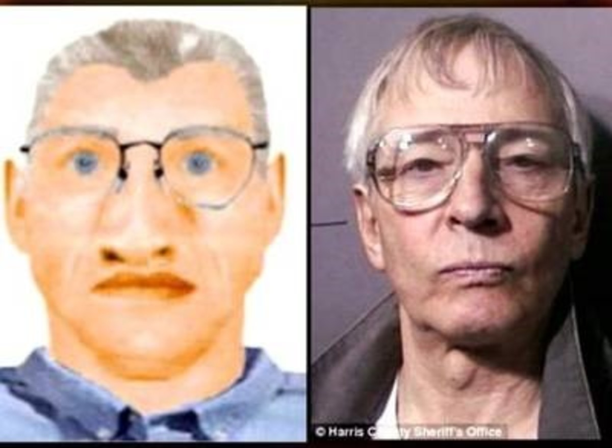 Suspected serial killer Robert Durst and composite of person of interest in Karen Mitchell disappearance.