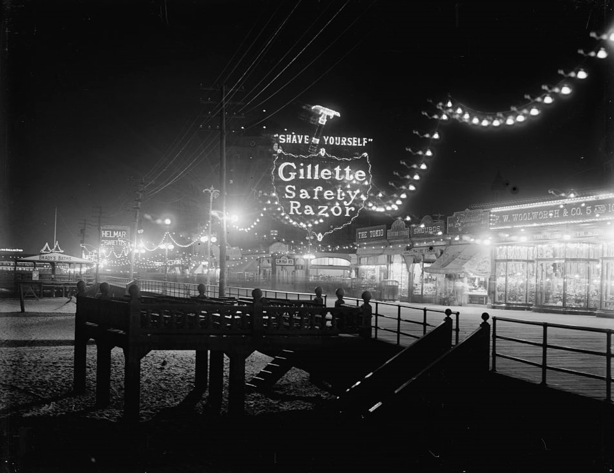 An Gillette neon sign capitalizing on the new phenomenon of self-shaving. (c. 1915)