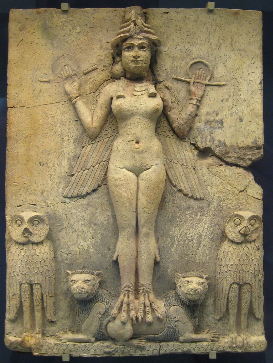 """Unknown artist, The Queen of the Night, c. 1792-1750 BCE, Babylonia. terracotta clay relief, 19.4"""" x 14.5"""". British Museum, London."""